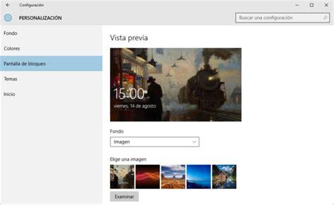 Personalizar pantalla de bloqueo de Windows 10