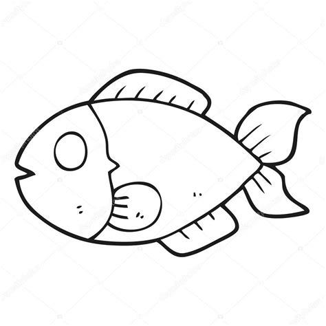 pescado blanco y negro de dibujos animados — Vector de ...