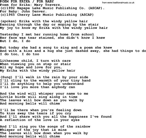Peter, Paul and Mary song: Poem For Erika For Baby, lyrics