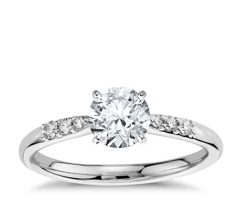 Petite Diamond Engagement Ring in 14k White Gold (1/10 ct ...