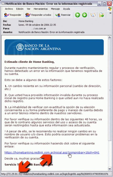 Phishing: Home Banking (Banco de la Nación Argentina)