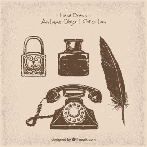 Phone and hand-drawn vintage objects Vector | Free Download
