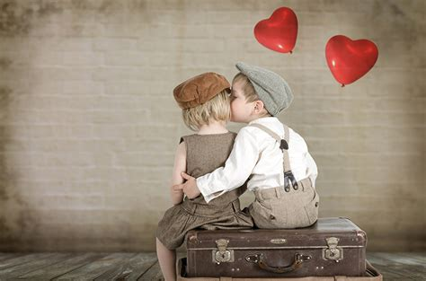 Photo Little girls Boys Heart Children Kiss