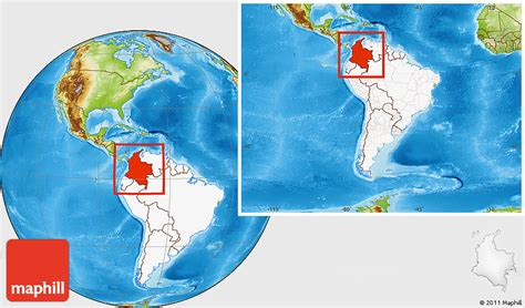 Physical Location Map of Colombia, highlighted continent ...