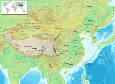 Physical Map of China 2010-2011 | Printable relief maps ...