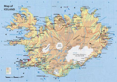 Physical map of Iceland. Iceand physical map | Vidiani.com ...