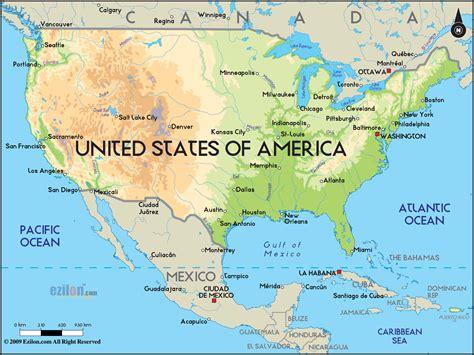 Physical Map of United States of America - Ezilon Maps