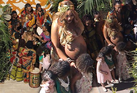 [PICS] Pregnant Beyonce Bares Her Bulging Belly At Baby Shower