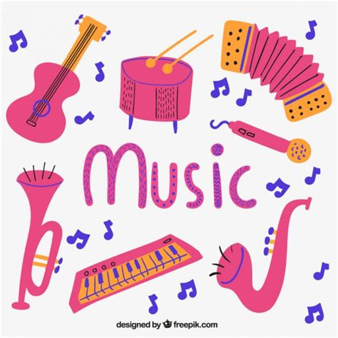 Pink music instruments Vector | Free Download