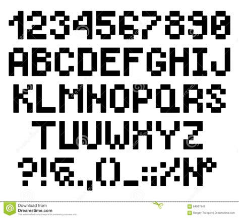 Pixel Bold Rounded Letters And Numbers, Alphabet Stock ...