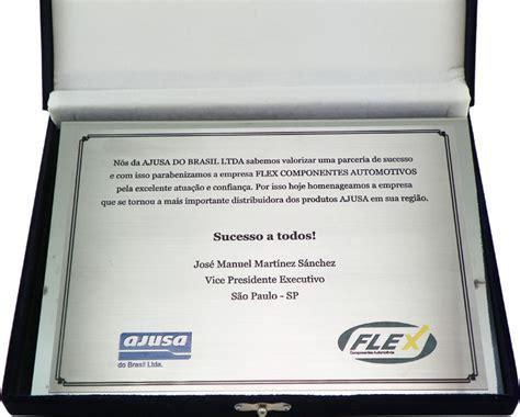 Placa de homenagem empresarial firmando parceria - PLACCOLOR