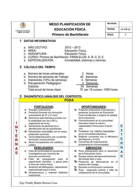 Planificación Curricular de Educación Física 2012 2013 by ...