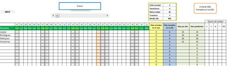 Planilla de Excel de Calendario de vacaciones de empleados ...