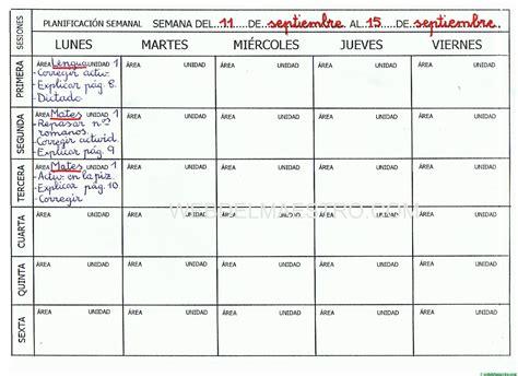Planning semanal de actividades para imprimir   Web del ...