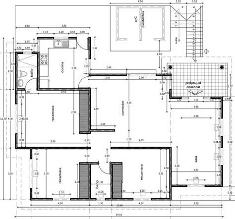 Plano de casa de un piso en Autocad