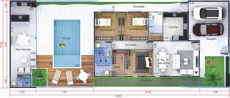 Planta de casa com edícula e piscina   Projetos de Casas ...