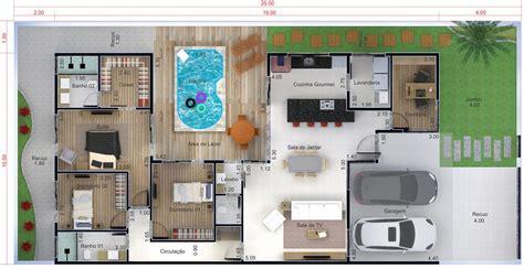 Planta de casa térrea com piscina   Projetos de Casas ...