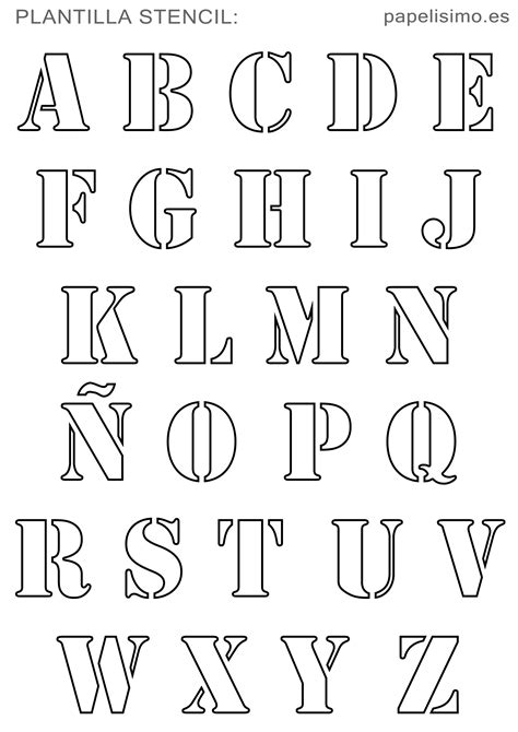 Plantillas abecedario stencil para imprimir (con ñ ...