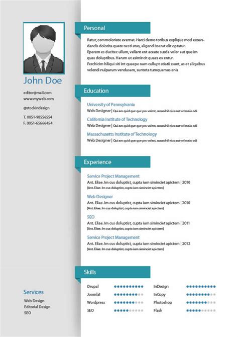 Plantillas de curriculums en InDesign para imprimir - Kabytes
