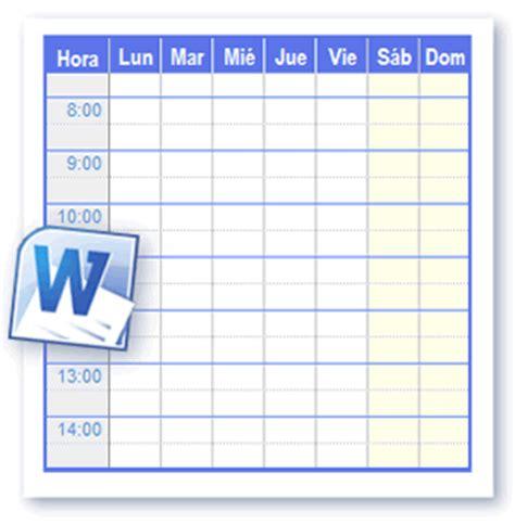 Plantillas Horario Para Imprimir en Formato de Word y Open ...