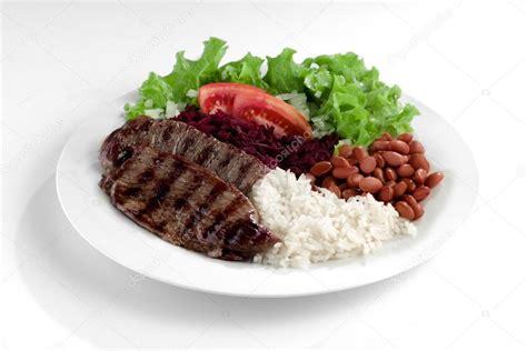 Plato con carne, arroz y frijoles — Foto de stock ...