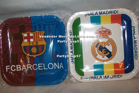 Platos Fiesta Cuadrado Real Madrid Barcelona Cotillon - Bs ...