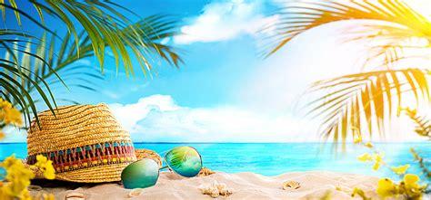 Playa verano hojas de Palma,Sombrero de paja,Playa de ...