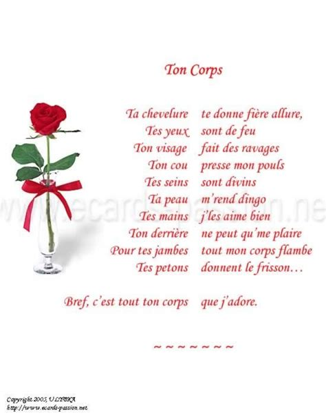 ¤ poem in French: your body