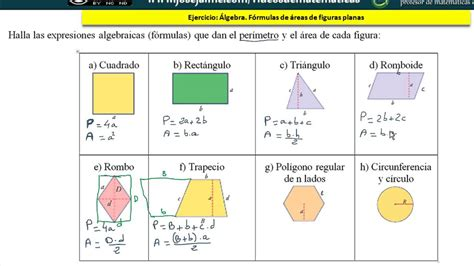 Polinomios. Expresa algebraicamente fórmulas áreas figuras ...