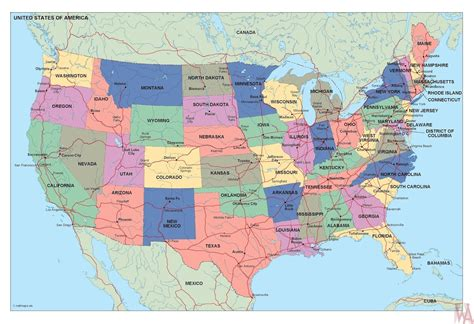 Political map of the United States 2 | WhatsAnswer