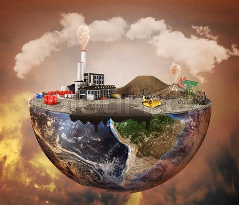 Pollution concept. Plant, machinery, petroleum, emissions ...