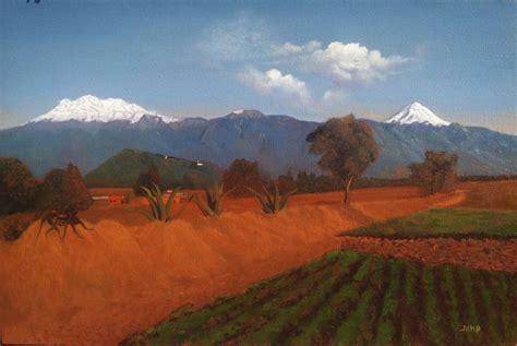 Popocatepetl e Iztaccihuatl. Oil Painting Landscape ...