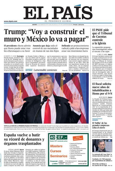 Portada de EL PAÍS del 12 01 2017
