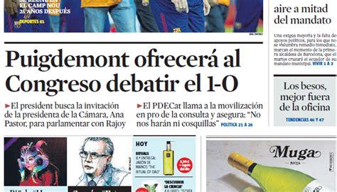 Portada de La Vanguardia de este domingo 11 de junio de 2017