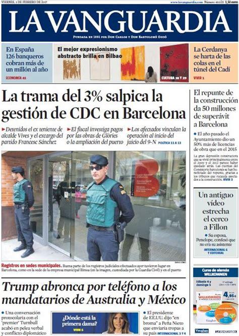 Portada de La Vanguardia del 3 de febrero de 2017