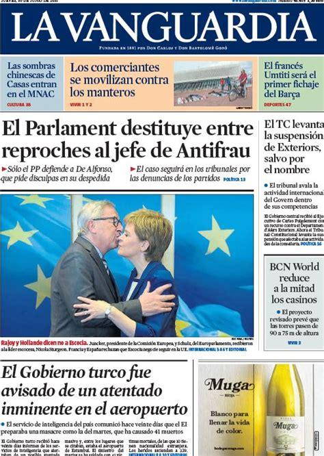 Portada de La Vanguardia del 30 de junio de 2016