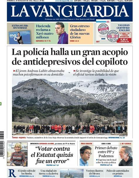 Portada de La Vanguardia del domingo 29 de marzo de 2015