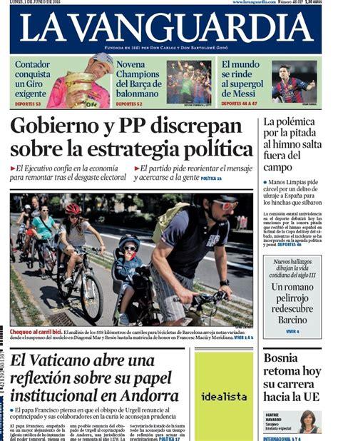 Portada de La Vanguardia del lunes 1 de junio de 2015