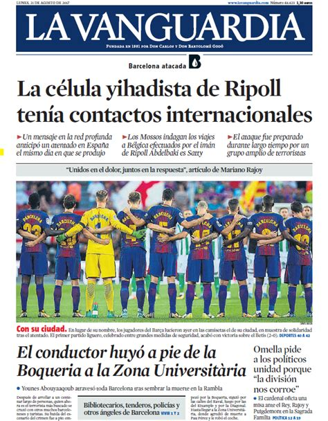 Portada de La Vanguardia del lunes 21 de agosto de 2017
