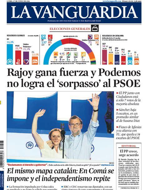 Portada de La Vanguardia del lunes 27 de junio de 2016