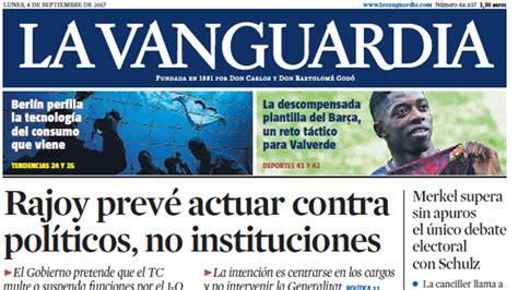 Portada de La Vanguardia del lunes, 4 de septiembre de 2017