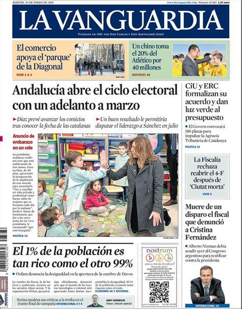 Portada de La Vanguardia del martes 20 de enero de 2015