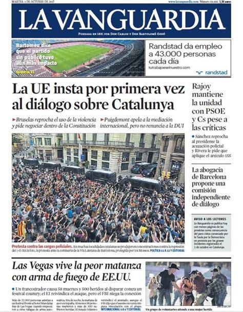 Portada de La Vanguardia del martes 3 de octubre de 2017