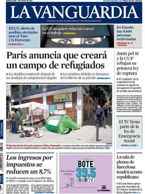 Portada de La Vanguardia del miércoles 1 de junio de 2016