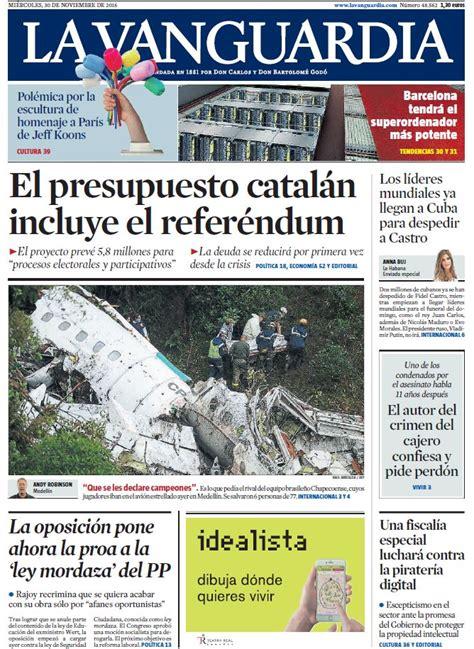 Portada de  La Vanguardia  del miércoles 30 de noviembre ...