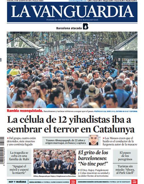 Portada de La Vanguardia del sábado 19 de agosto de 2017