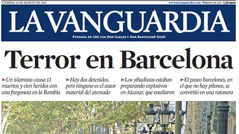 Portada de La Vanguardia del viernes, 18 de agosto de 2017