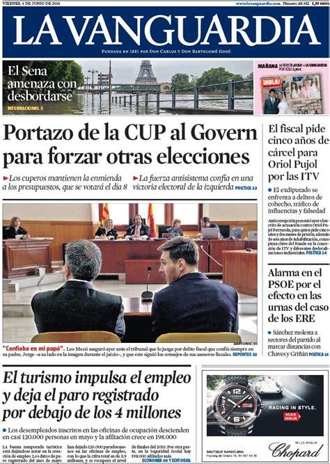 Portada de  La Vanguardia  del viernes 3 de junio de 2016