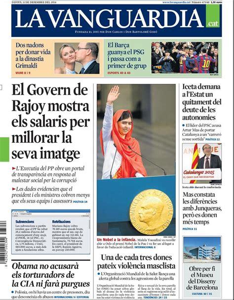 Portada de La Vanguardia en català del dijous 11 de ...