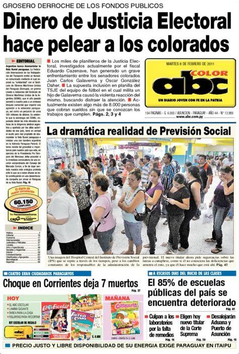 Portada del periódico ABC Color  Paraguay . Todos los ...